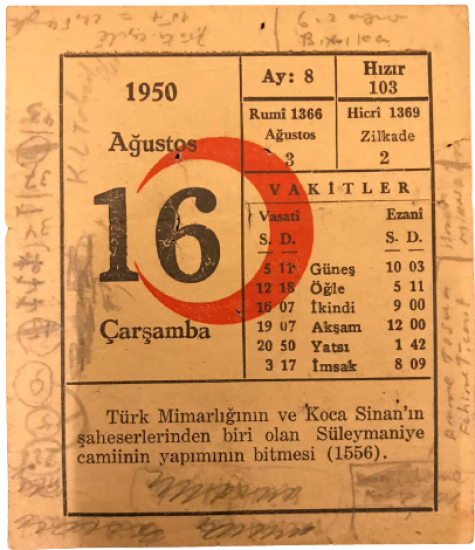 1950 SENESİNİN 16 AGUSTOS CARŞAMBA GÜNÜNE AİT KIZILAY TAKVİM YAPRAGI